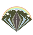 mountains road and a rainbow vector image