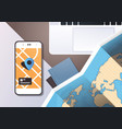 navigation online application paper world map with vector image vector image