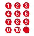 number set red label vector image vector image