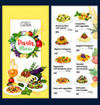 pasta menu for italian cafe with cuisine of italy vector image vector image