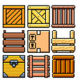 pixel different crates set detailed isolated vector image vector image