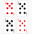 Playing Cards Showing Sevens from Each Suit vector image vector image
