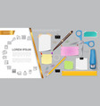 realistic stationery composition vector image vector image