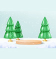 realistic wood podium on blue snowy background vector image vector image
