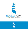 rocket and clouds logfor start up or tech business vector image vector image