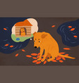 sad homeless dog sitting on street covered vector image vector image
