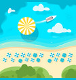 sea shore with beach umbrella vector image