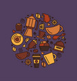 set coffee theme line art draw icons in the vector image