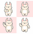 set cute rabbit characters vector image