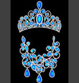 set jewelry diadem and necklace with precious vector image