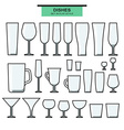 Set of different isolated glasses with a stroke vector image vector image