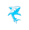 shark logo design outline concept template vector image vector image