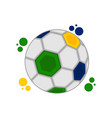 soccer ball with the colors of brazil vector image