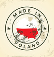 Stamp with map flag of Poland vector image vector image