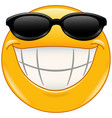 sunglasses emoticon with big smile vector image vector image