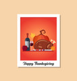thanksgiving dinner image on polaroid photo frame vector image