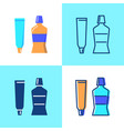 toothpaste and mouth wash icon set in flat and vector image