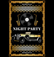 vintage colored night retro party poster vector image vector image