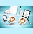 work place with cappuccino vector image