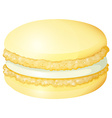 Yellow macaron with cream vector image vector image