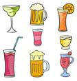 set drink design art doodles vector image
