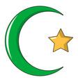 starcrescent symbol of islam icon cartoon style vector image