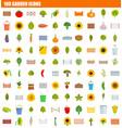 100 garden icon set flat style vector image vector image