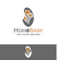 abstract logo a mother holding baby vector image vector image
