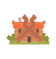 ancient timbered log house vector image vector image