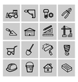 black construction icons set vector image