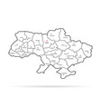 black thin line ukraine map regional centers vector image