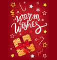christmas warm wishes card greeting postcard vector image vector image