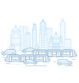 city traffic - downtown cityscape with public vector image vector image