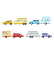 collection cars with trailers trailering vector image vector image