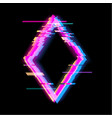 colorful glitch rhombus geometric shape frame vector image vector image