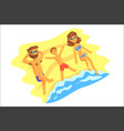 cute cartoon family on beach fathermotherson vector image