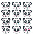 cute panda faces with different emotions isolated vector image