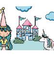 cute princess in castle pixel art vector image