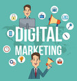 digital marketing man teamwork campaign poster vector image