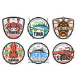 fishing and fisher club icons labels symbols vector image