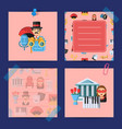 flat theatre icons notes set vector image vector image