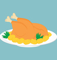 Fried chicken on plate vector image vector image