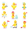 funny duckling characters set cute yellow duck in vector image vector image