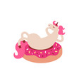 funny unicorn lies on donut vector image vector image