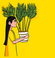 girl carries a flower in vector image vector image