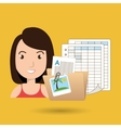 girl with papers isolated icon design vector image