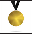 gold medal template with black ribbon isolated vector image