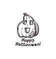 halloween hand drawn pumpkin with handwritten vector image vector image