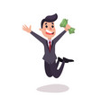 happy businessman character jumping with a pack vector image vector image