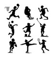 health sport black silhouette wellness flat people vector image vector image